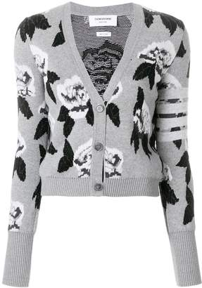 Thom Browne Boucle Rose Jacquard V-Neck Cardigan