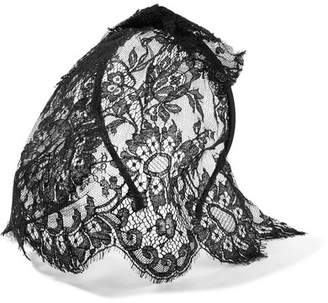Tina Lace Veiled Headband - Black