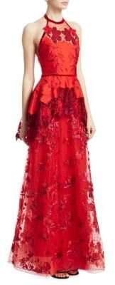 Marchesa Laser Cut Embroidered-Floral Halter Gown