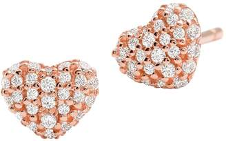 e64e4ea7074af5 Michael Kors 14K Rose Goldplated Pave Crystal Heart Stud Earrings