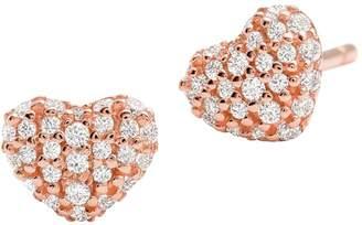 Michael Kors 14K Rose Goldplated Pave Crystal Heart Stud Earrings