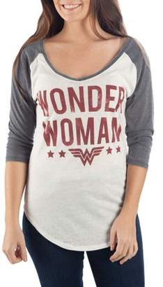 DC Comics Wonder Woman Juniors' Wonder Woman White and Charcoal Raglan 3/4 Sleeve Graphic T-Shirt