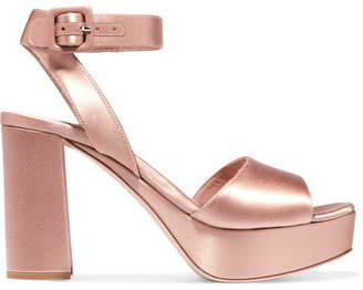 Miu Miu Satin Platform Sandals - Blush