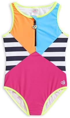 Skechers Girl's Striped Colourblock One-Piece Swimsuit
