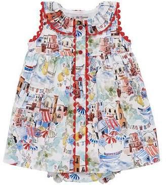 Carrera Pili Beach Town Print Sleeveless Dress w/ Bloomers, Size 12M-3