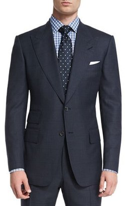 TOM FORD Windsor Base Windowpane Two-Piece Suit, Navy $3,990 thestylecure.com