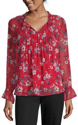 Liz Claiborne Long Sleeve Ruffle Tie Neck Floral Blouse