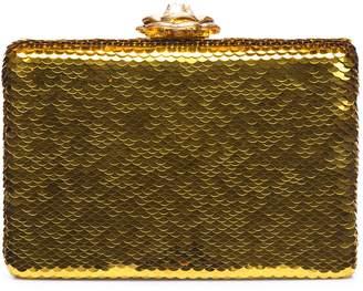 Oscar de la Renta Gold Sequin Rogan Box Clutch