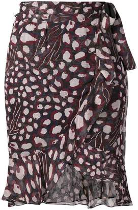 IRO printed ruffle trim skirt