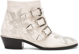 Chloé Susanna Leather Studded Ankle Boots in Cloudy White | FWRD