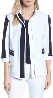 Ming Wang Mesh Trim Woven Jacket