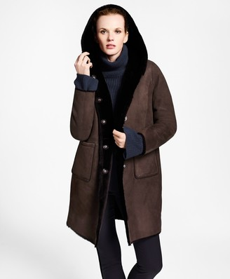 Brooks Brothers Shearling Hooded Coat