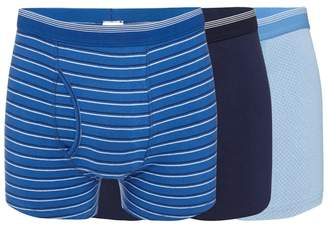 The Collection - Big And Tall Pack Of Three Navy And Blue Plain And Striped Keyhole Trunks