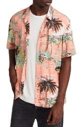 AllSaints Luau Slim Fit Camp Shirt