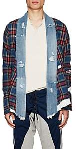 Greg Lauren Men's Plaid Flannel & Denim Kimono Shirt-Navy