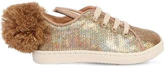 Ocra Bunny Sequined Leather Sneakers