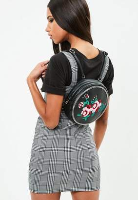 Missguided Black Round Floral Embroidered Backpack, Black