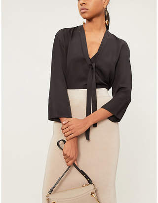 Theory Ladies Black Tie-Neck Long-Sleeved Silk-Satin Top