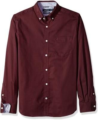 Nautica Men's Long Sleeve Stretch Poplin Wrinkle Resist Windowpane Shirt