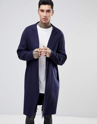 Asos DESIGN Longline Knitted Duster Jacket in Navy
