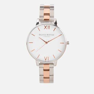 Olivia Burton Women's White Dial Bracelet Watch - Silver & Rose Gold