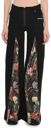 Off-White Zip-Front Wide-Leg Jeans with Floral-Print Inset