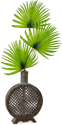 Nearly Natural Artificial Fan Palm Arrangement in Open Weave Vase