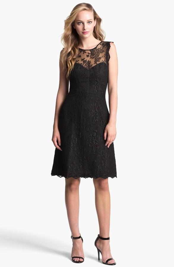 Monique Lhuillier ML Lace Fit & Flare Dress