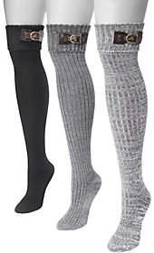 Muk Luks Women's Three Pairs Buckle Cuff Over t he Knee Socks