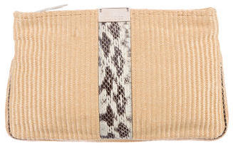 Jimmy Choo Jimmy Choo Snakeskin-Trimmed Straw Clutch