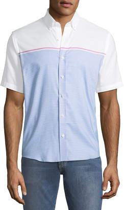 Neiman Marcus Slim-Fit Engineer-Striped Short-Sleeve Sport Shirt, Blue/White