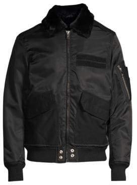 Diesel Slotkin Faux Fur Collar Bomber Jacket