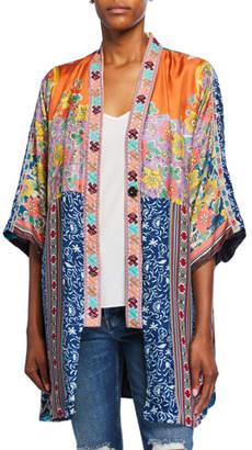 Johnny Was Plus Size Bianca Reversible Silk Twill Short Kimono