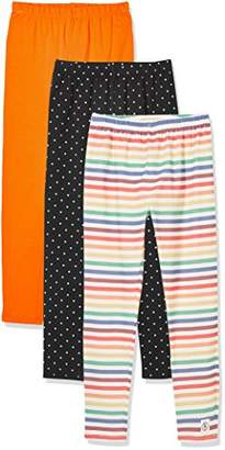Kid Nation Girls' 3 Pack Casual Cotton Stretch Solid + Stripe + Printed Legging S