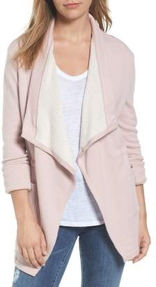 Caslon Asymmetrical Drape Collar Terry Jacket (Regular & Petite)