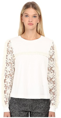 See by Chloe Jersey Fringe Sleeve Top $335 thestylecure.com