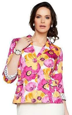 Joan Rivers Classics Collection Joan Rivers Floral Bouquet 3/4 Sleeve Jacket