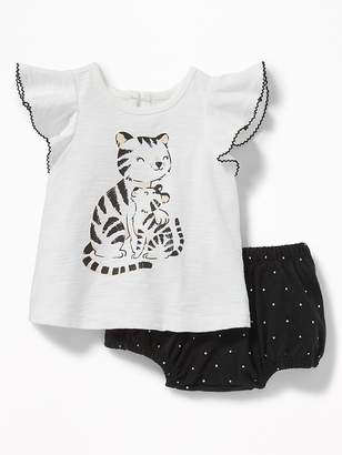 Old Navy Graphic Flutter-Sleeve Top & Patterned Bloomers Set for Baby