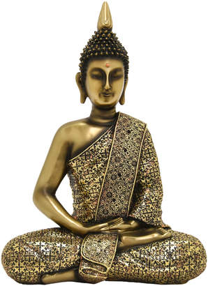 Three Hands Corp Gold-Tone Sitting Buddha Home Accent