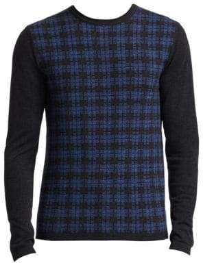 Saks Fifth Avenue COLLECTION Wool Distressed Plaid Sweater