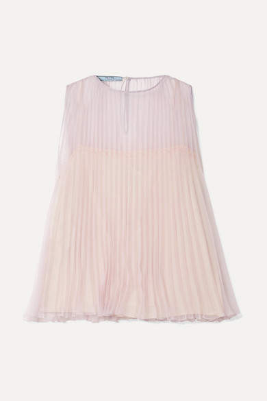 Prada - Pleated Organza Top - Lilac