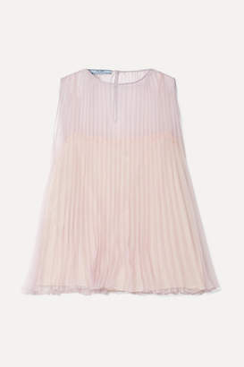 Prada Pleated Organza Top - Lilac