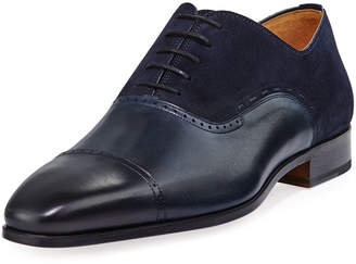 Magnanni Hand-Antiqued Calfskin/Suede Lace-Up Loafer