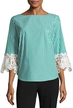 Liz Claiborne 3/4 Lace Sleeve BoatNeck Woven Blouse
