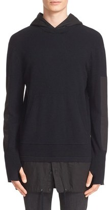 Men's Helmut Lang Merino Wool & Cotton Hooded Pullover $360 thestylecure.com