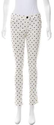 Alice + Olivia Polka Dot Low-Rise Jeans