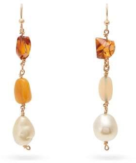 Jade Jagger Baroque Pearl, Opal & 18kt Gold Drop Earrings - Womens - Multi