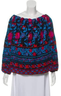 Tanya Taylor Embroidered Floral Top
