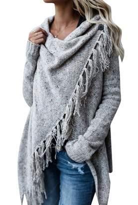 Spodat Women's Plus Size Tassel Hollow Out Asymmetrical Hem Sweater XL