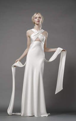 Elizabeth Fillmore Harlow Silk Bias Gown With Banded Wrap Bodice